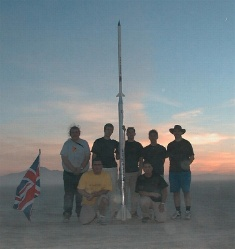 A triumphant MARS posing in the desert